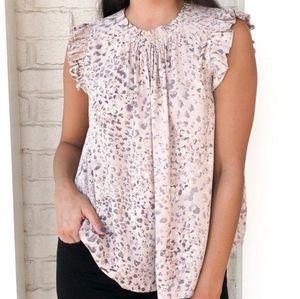 Karlie Sabi Ruffle Sleeve Top Size Small